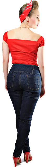 Collectif Rebel Kate Skinny 50s High Waisted Navy Blue Denim Jeans - Cherry Red Vintage
