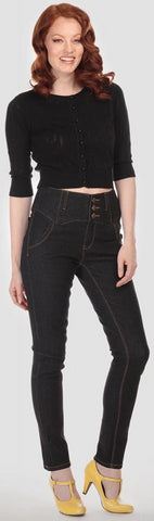 Collectif Rebel Kate Skinny 50s Style High Waisted Black Denim Jeans - Cherry Red Vintage