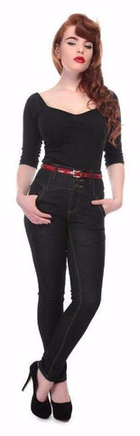 Collectif Rebel Kate Skinny 50s Vintage Style High Waisted Black Denim Jeans - Cherry Red Vintage - 1