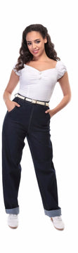 Collectif Siobhan Plain 50s Vintage Style High Waisted Navy Blue Jeans - Cherry Red Vintage - 1