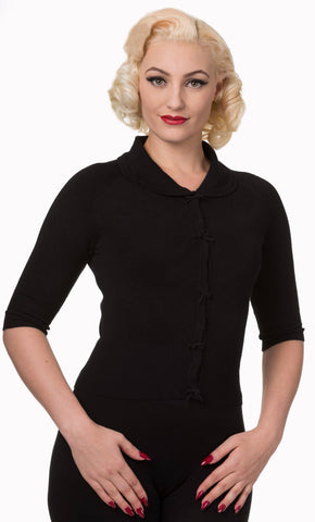 Dancing Days 40s 50s April Bow Black Short Sleeve Cardigan - Cherry Red Vintage