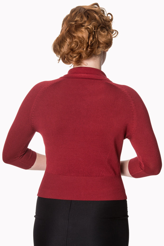 Banned 40s 50s April Bow Burgundy Red Short Sleeve Cardigan - Cherry Red Vintage