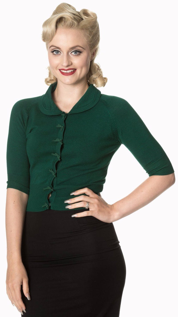 Dancing Days 40s 50s April Bow Dark Green Short Sleeve Cardigan - Cherry Red Vintage