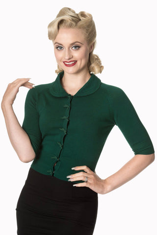 Dancing Days 40s 50s April Bow Forest Green Short Sleeve Cardigan
