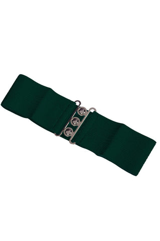 Dancing Days 50s Vintage Elasticated Stretch Forest Green Belt - Cherry Red Vintage