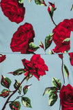 Hearts & Roses 50s Ditsy Red Rose Blue Floral Stretch Cotton Dress - Cherry Red Vintage