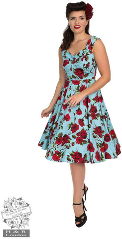 Hearts and Roses 50s Ditsy Red Rose Blue Floral Stretch Cotton Dress - Cherry Red Vintage