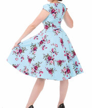 Hearts & Roses 50s Style Royal Ballet Light Blue Floral Dress - Cherry Red Vintage