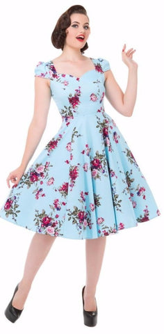 Hearts and Roses 50s Style Royal Ballet Light Blue Floral Dress - Cherry Red Vintage