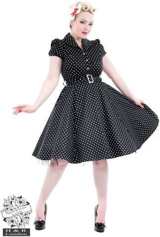 Hearts and Roses Black White Small Polka Dot Tea Dress - Cherry Red Vintage