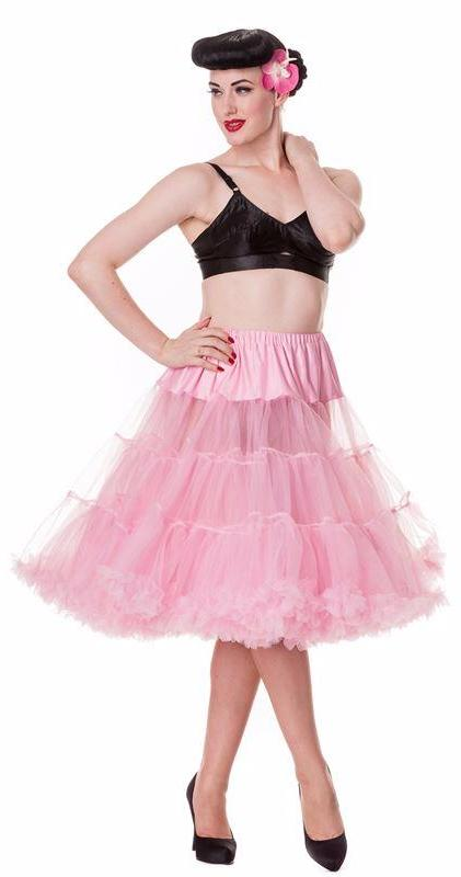 "Hell Bunny Bubblegum Pink 50s Jive Lindy Rockabilly 25/27""Petticoat - Cherry Red Vintage"