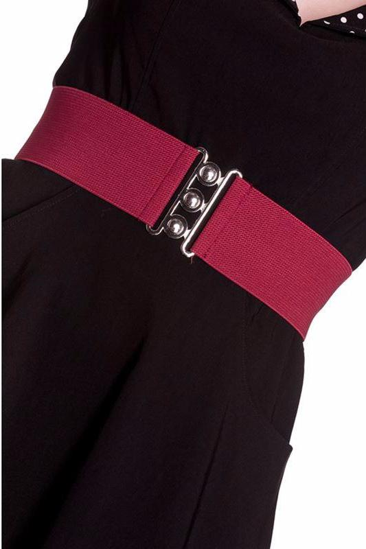 Hell Bunny Burgundy Elasticated 50s Vintage Retro Belt - Cherry Red Vintage