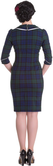 Hell Bunny Doralee 50's Navy Green Tartan Pencil Dress - Cherry Red Vintage