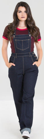Hell Bunny Elly May 40s 50s Navy Blue Denim Dungarees - Cherry Red Vintage