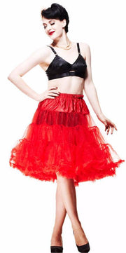 "Hell Bunny Red 50s Jive Lindy Rockabilly 25/27""Petticoat - Cherry Red Vintage"