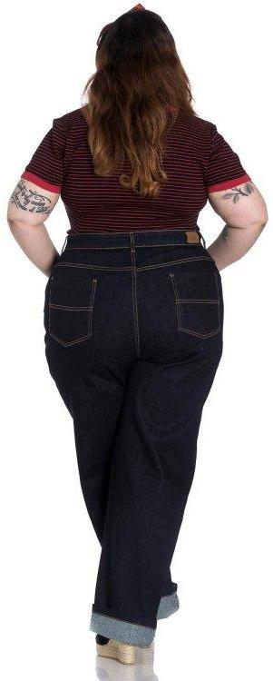 Hell Bunny Weston 40s 50s High Waisted Navy Blue Denim Jeans - Cherry Red Vintage