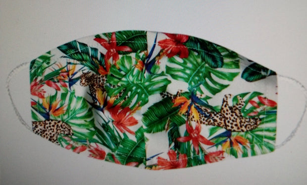 Leopard Jungle Leaf Print Face Mask Washable and Reusable