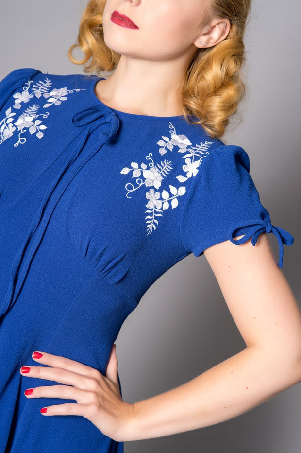 Sheen Ava 1940s WW11 Style Royal Blue Tea Dress - Cherry Red Vintage
