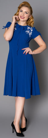 Sheen Ava 1940s WW11 Style Royal Blue Tea Dress