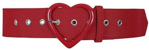 Collectif Adore Heart Belt in Red - Cherry Red Vintage