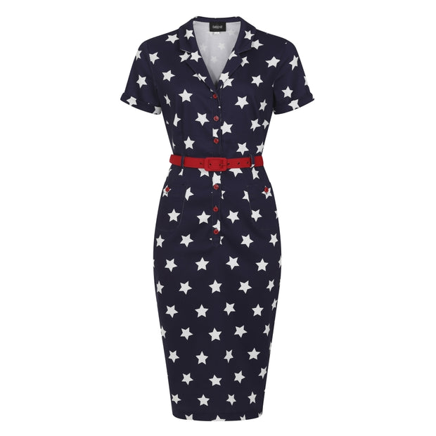 Collectif Caterina Stars Navy Blue Pencil Dress