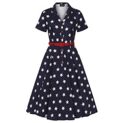 Collectif 40s 50s Caterina Stars Navy Blue Swing Dress *