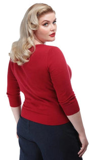 Collectif 50s Charlene Rock Roll Red Cardigan - Cherry Red Vintage