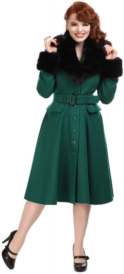 Collectif 50s Vintage Cora Green Swing Coat - Cherry Red Vintage