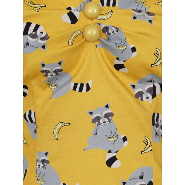 Collectif Dolores Yellow Ravenous Raccoons Top