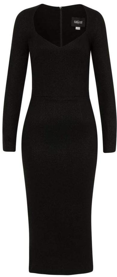 Collectif Helene Black Long Sleeved Pencil Dress - Cherry Red Vintage