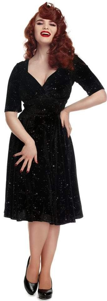 Collectif 40s 50s Trixie Black Silver Star Velvet Dress - Cherry Red Vintage
