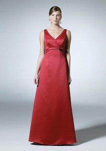 RED SATIN BRIDESMAID DRESS FOR M.W.