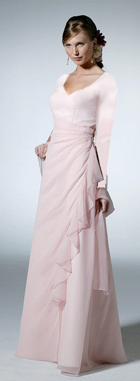 Chiffon Bridesmaid Dress (long sleeves) for M.P.