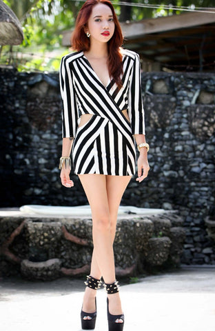 Black and White Stripe Cut Out Dress for Crystal