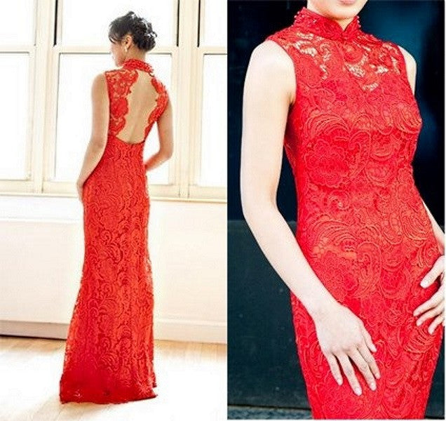 Red Lace Chinese Dress for Jenny