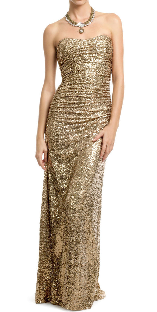 Gold sequin gown for Zhanna