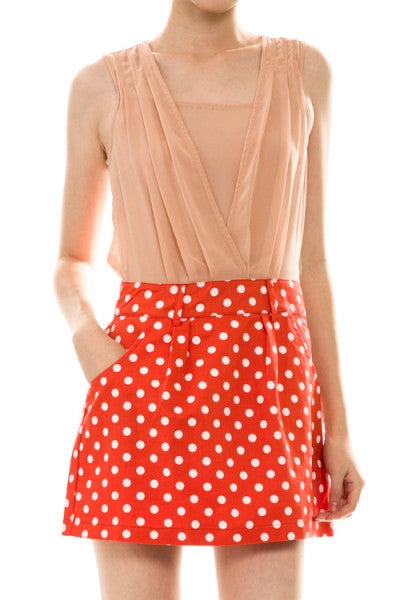 Polka Dot Skirt with Pockets