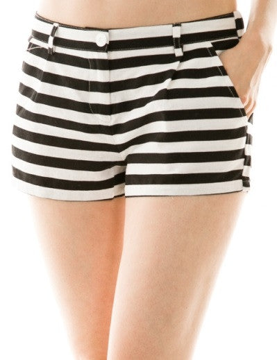 Horizontal Stripe Mini Short with Pockets