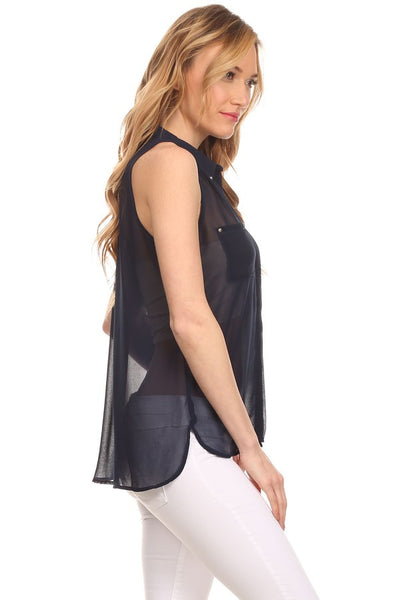 Chiffon Sleeveless Blouse with Pockets