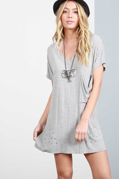 Tunic V Neck Dress with Pockets