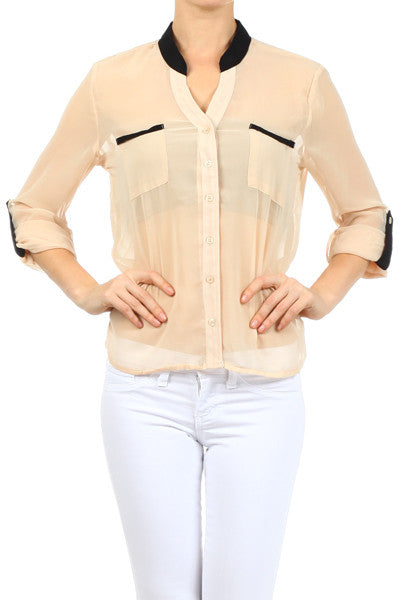 Chiffon Blouse with Pockets