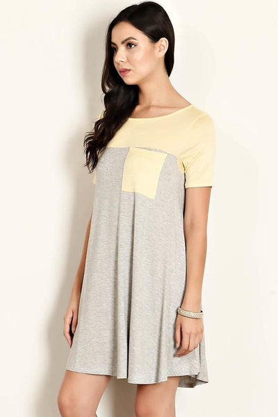 Lemon Tee Shirt Dress with Pockets