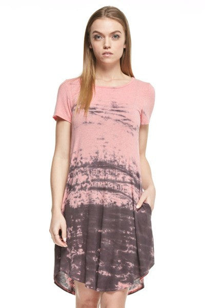 Tie-Dye Tee Shirt Dress with Pockets