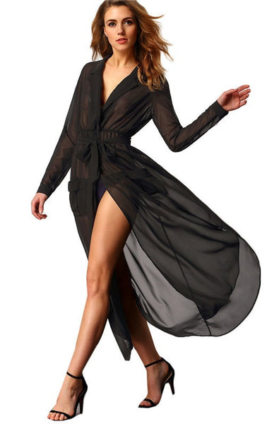 Long Sexy Chiffon Sheer Dress with Pockets