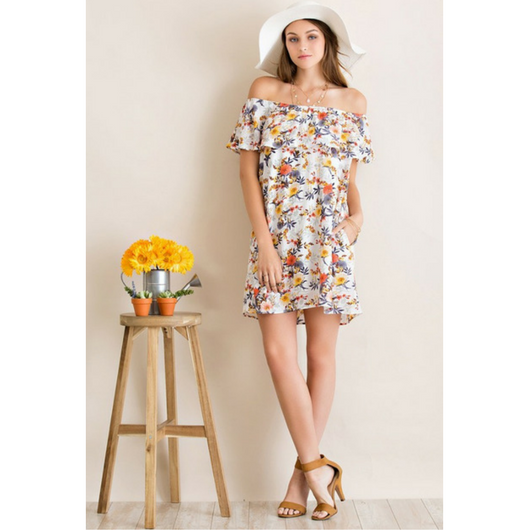 Floral Shoulder Dress with Pockets