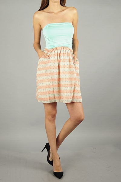 Strapless Mint Sundress with Pockets
