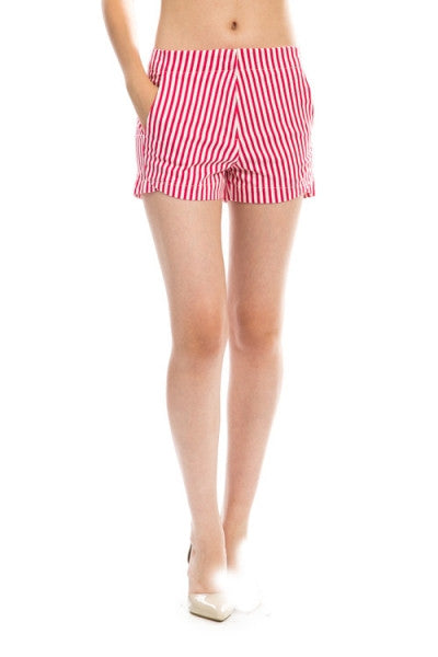 Vertical Stripe Mini Short with Pockets