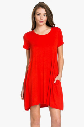 Red Swing Tee Shirt Dress with Pockets