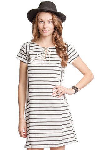Stripe Tie Front Dress with Pockets