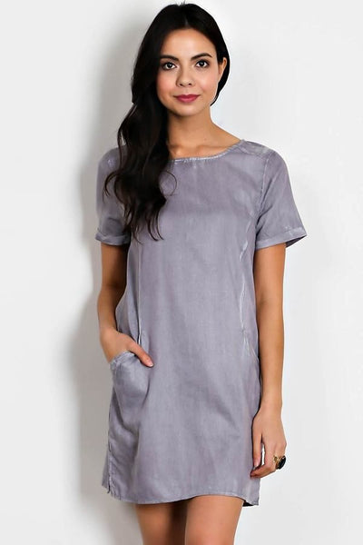Stone Wash Scoop Neck Dress with Pockets